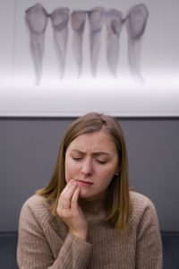 Woman at emergency dentist in Williamstown